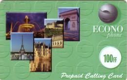 FRANCE  PREPAID ECONOPHONE 100f TOUR EIFFEL TOWER VERSO CARRE NOIR PARIS - France