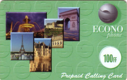 FRANCE  PREPAID ECONOPHONE 100f TOUR EIFFEL TOWER VERSO GROS N° SERIE - France