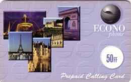 FRANCE  PREPAID ECONOPHONE 50f TOUR EIFFEL TOWER VERSO CARRE NOIR PARIS PETITS N° SERIE VERSO - France