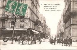 92 - NEUILLY  SUR  SEINE - Belle Vue Animée De L'Avenue Du Roule Et Rue Du Marché - Neuilly Sur Seine
