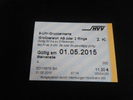 ticket METRO TRAIN HAMBOURG 1 journ�e pour 5 personnes