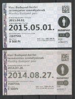 Hungary, Budapest, Monthly Tickets, 2014-2015.