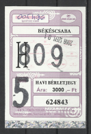 Hungary, Bekescsaba, Monthly Bus Ticket, 2008.
