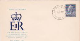 Australia 1955 Queen Elizabeth 1 Shilling And Half Penny Blue FDC - FDC