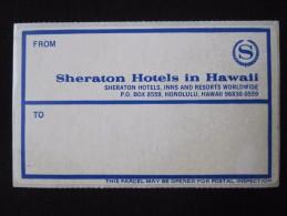 ISLAND HOTEL MOTEL MOTOR INN SHERATON WAIKIKI HONOLULU HAWAII USA MINI STICKER DECAL LUGGAGE LABEL ETIQUETTE AUFKLEBER