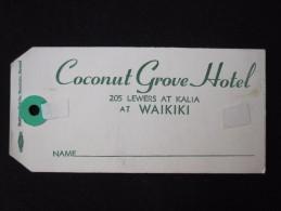 ISLAND HOTEL MOTEL MOTOR INN WAIKIKI SURF COCONUT GROVE HAWAII USA STICKER DECAL LUGGAGE LABEL ETIQUETTE AUFKLEBER