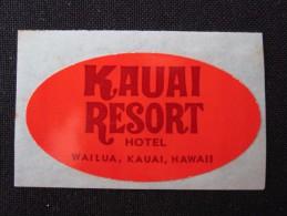 ISLAND HOTEL MOTEL INN MINI KAUAI WAILUA HONOLULU HAWAII USA STICKER DECAL LUGGAGE LABEL ETIQUETTE AUFKLEBER