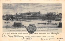 VAL DE MARNE  94  CHARENTON  MOULIN DE QUICANGROGNE - CHATEAU ET EGLISE DE CONFLANS - COUVENT  GRAVURE - Charenton Le Pont