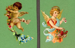 Lot De 2 Découpis, Thème Anges, Fleurs, Dimensions Environ 3 X 3,5 Cm - Angeles