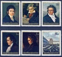 #Ruanda 1971. Paintings. Music : Beethoven. Michel 449-54. MNH(**)