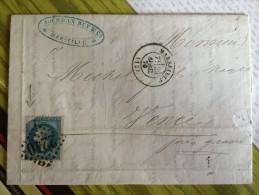 N°29 SUR LETTRE VARIETE RARE GRANDE CASSURE ANGLE NON IMPRIME. - 1863-1870 Napoleon III With Laurels