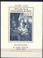 #Ruanda 1971. Painting. Van Dyck. Christmas. Bloc. Michel 28. MNH(**)