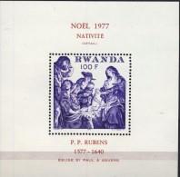 #Ruanda 1977. Painting. Rubens. Christmas. Bloc. Michel 83. MNH(**)