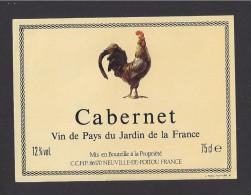 Etiquette De Vin De Pays Du Jardin De La France - Cabernet  -  Ets Nouhaud à Limoges  (87) - Thème Coq - 75 Cl - Galli