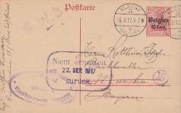 BELGIQUE EP Occ Bxl Elsene 3 - 1917 > München + Gr. Nient Ernneteit Zuruck