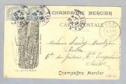 Motiv Alkohol Champagne Mercier Illustr. Carte Emp. Ges. Nach Ponte GR/CH AK Sistets Lorrison - Cartes Postales