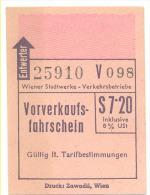 OSTEREICH-WIEN WIENER STADTWERKE VERKEHRSBETRIEBE VORVERKAUFSFAHRSCHEIN  S 7 20