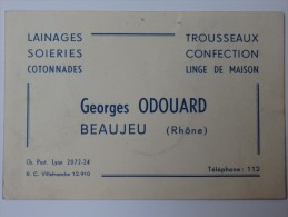 Carte De Visite, G. Odouard Lainages Soieries Cotonnades Beaujeu (Rhône). - Cartes De Visite