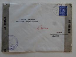 Cachet Censure Zone Americaine Sur Lettre 75p  Pour Puteaux Parfums Dorsay 1947 - American/British Zone
