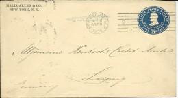 """USA - 1904 - ENVELOPPE ENTIER Avec CACHET LINEAIRE PAQUEBOT """"FINLAND"""" De NEW YORK Pour LEIPZIG - Poststempel"""