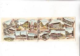 6728 GERMERSHEIM, Klapp-Litho 2-teilig, Kasernen, Bahnhof, Synagoge, Mittig Geteilt - Germersheim