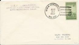 USA - 1947 - ENVELOPPE Avec CACHET NAVAL Du U.S.S CIMARRON à SAN FRANCISCO - Postal History