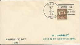 USA - 1935 - ENVELOPPE Avec CACHET NAVAL Du U.S.S RELIEF - ARMISTICE DAY - Postal History