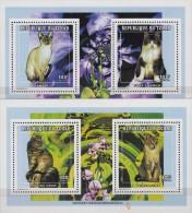 Tchad.1998.2 Sheets.4v.Cats.Michel.1652-55.MNH.21360