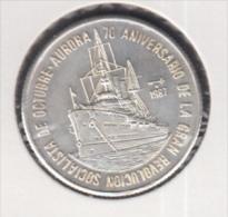 1987-MN-102 CUBA UNC  1987 5$ SILVER AG. KM161. RUSSIA. AURORA SHIP. 70 ANIV REVOLUCION RUSIA - Cuba