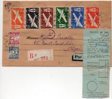 Réunion : Série France Libre Avion Sur Lettre De 1944 - Taxe D'Algérie - Etiquette De Douane N° 230 (volet N° 2) - Brieven En Documenten