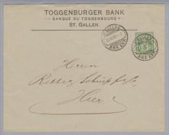 Motiv Bank Geld Toggenburger Bank 1907-11-12 WZ-Ganzsache - Timbres