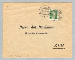 Motiv Bank Geld 1913-10-14 Brief Perfin S.Z. Sparkasse Zug - Timbres