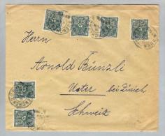 Motiv Bank Geld DR 1923 Brief Mi#209 X6 Perfin DB Dt.Bank - Timbres