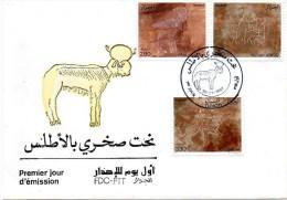 Algérie 1987 - Gravures Rupestre De L´Atlas (Yvert 892 à 894) Bélier, Bufle Et Lion, Couple Se Nourissant - Algeria (1962-...)