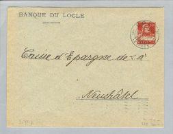 Motiv Bank Geld 1917-07-09 Privatganzsache Banque Du Locle - Timbres