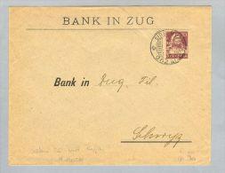 Motiv Bank Geld Perfin 1923-07-25 Brief S-O Eidg.Musikf.Perfin Bank Zug - Timbres