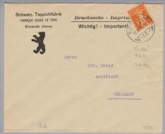 Motiv Bau Schweiz.Teppichfabrik Ennenda 1924-03-12 Perfin Brief #S094 - Usines & Industries