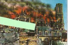 Reims , La Cathédrale En Flamme , Cpm Couleur - Guerre 1914-18
