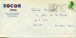 Flamme Illustrée,textil,tisage,l'outil A La Cornue,59 Wattrelos,Nord,SOCOR LOTO,lettre Obliterée 10.4.1984 - Textile