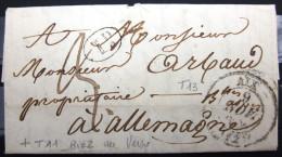 CACHET TYPE 13 + T 11 RIEZ Au Verso  --  AIX  --  BOUCHES DU RHONE   --  LAC  --  1844 - 1801-1848: Précurseurs XIX