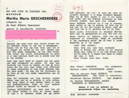 Descheerdere Martha Marie Naessens Angot Brouckaert   Bidprentje Doodsprentje - Religion & Esotericism