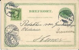 """SUEDE - 1903 - CARTE ENTIER Avec CACHET MARITIME LIGNE """"TRELLEBORG à SASSNITZ"""" De MALMÖ Pour HEMER (PRUSSE)"""