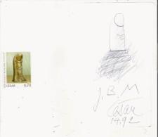 CESAR (1921 MARSEILLE 1998 PARIS) SCULPTEUR MEMBRE DES NOUVEAUX REALISTES DESSIN AVEC AUTOGRAPHE 1992 (DU POUCE CELEBRE) - Autographes