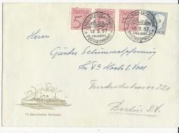 """SUEDE - 1957 - ENVELOPPE PAQUEBOT """"SS DROTTNING VICTORIA"""" Avec CACHET MARITIME LIGNE """"SASSNITZ à TRELLEBORG""""  => BERLIN"""