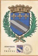 SUPERBE CARTE - COLORISEE - DES ARMOIRIES DE TROYES - CACHET POSTAL DE LA FOIRE DE CHAMPAGNE DU 13.06.66 - 2 SCANNS -TOP - Troyes