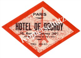 Paris, Hotel De Rocroy, 13 Rue De Rocroy  (z2800) - Hotelaufkleber