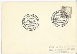 """SUEDE - 1957 - PAQUEBOT """"GRIPSHOLM"""" ENVELOPPE Avec CACHET MARITIME LIGNE """"SUEDE AMERIQUE GÖTEBORG à NEW YORK"""