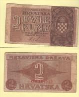Croazia Hrvatska  2 Kune 1942 II WW - Croatie