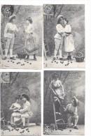 7608 - Suite De 4 CPA , Les Pommes, Couples - Femmes
