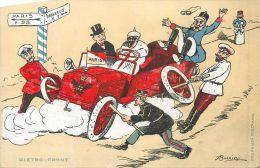 CARICATURE GUERRE 1914 DIETRO FRONT AUTOMOBILE ENTRAVEE CARTE ITALIE ANTI ALLEMANDE  KRIEG PROPAGANDA - Guerra 1914-18